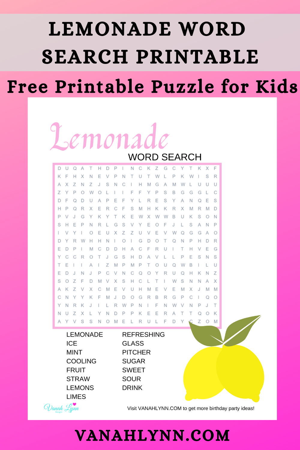 lemonade word search for a little girls birthday party