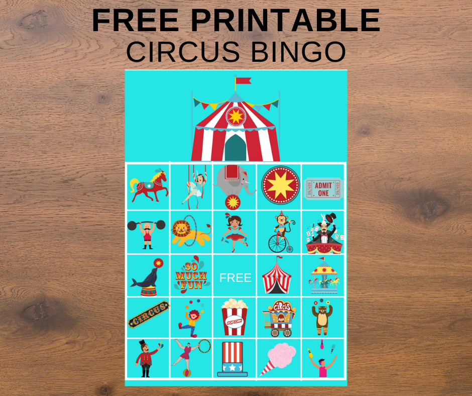 circus themed bingo game for birthday party