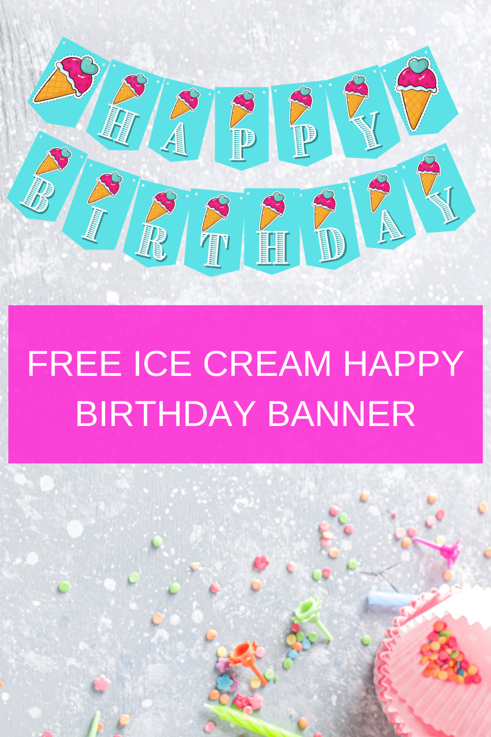 ice cream birthday party printables for little girl birthday party