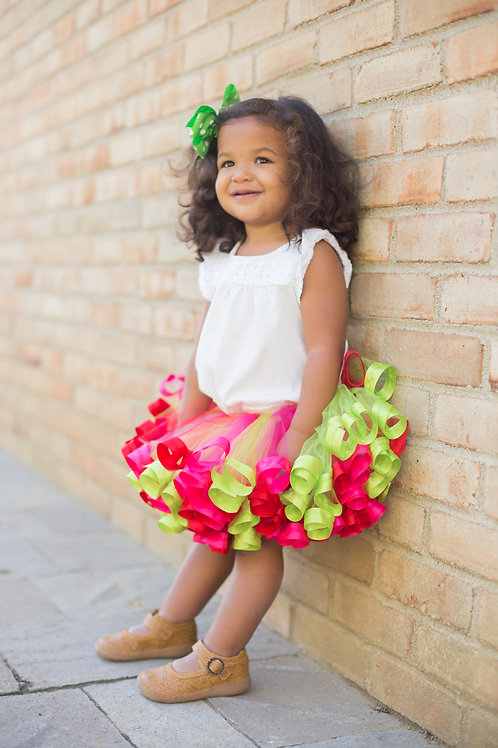 bright and colorful tutu skirt on little girl
