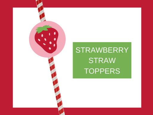 Strawberry Birthday Ideas - FREE Printable Straw Toppers