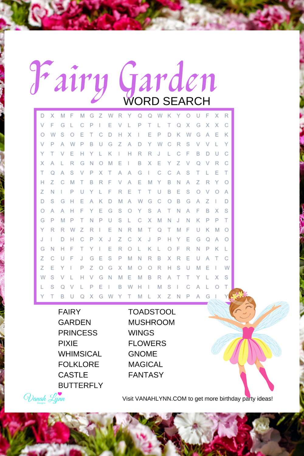 fairy garden themed games for a birthday party