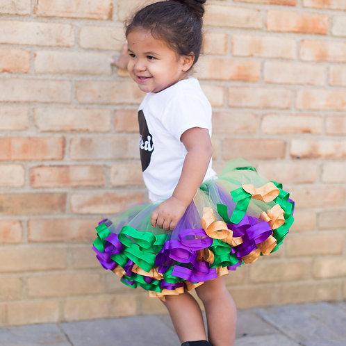 mardi gras tutu on a toddler girl