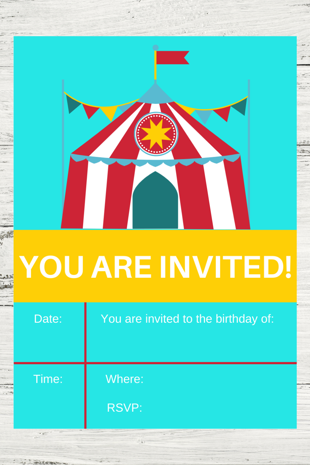 first birthday party circus invitation for a birthday party