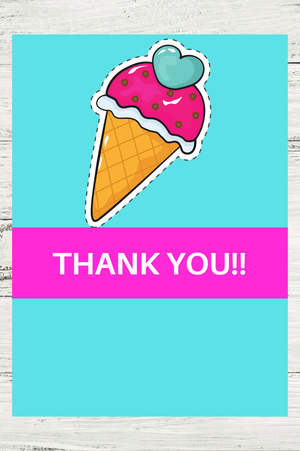 1st birthday party girl ice cream thank you card