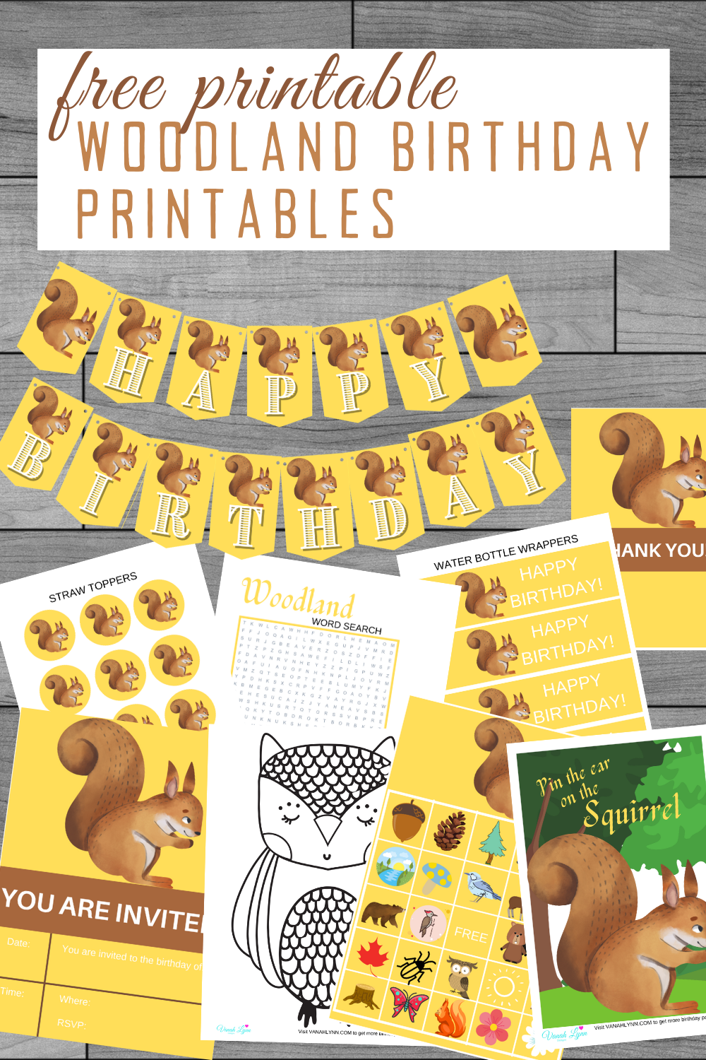 free printable squirrel party kit