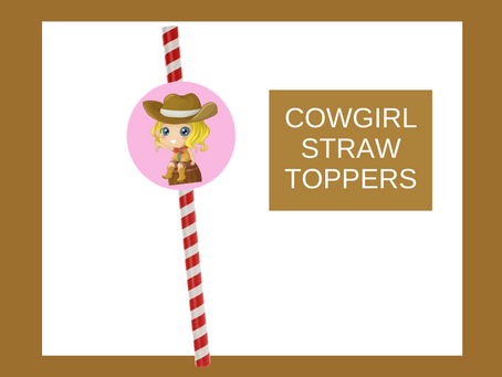 Cowgirl Straw Toppers | Free Printable Cowgirl Themed Birthday Party Ideas | DIY Cowgirl Decorations