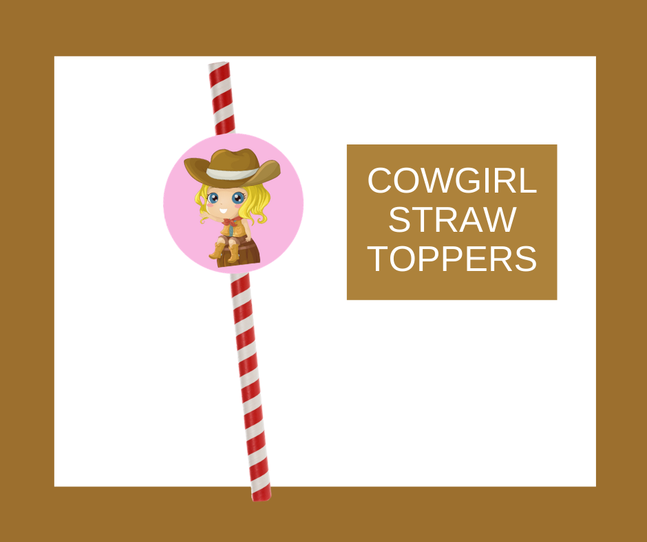 free printable cowgirl straw toppers