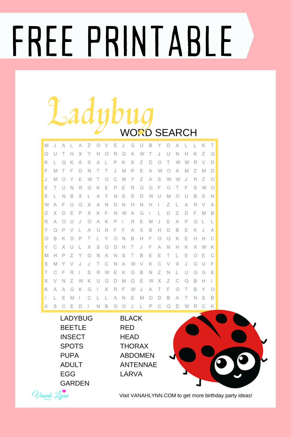 free printable ladybug word find birthday party for kids