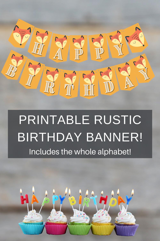 rustic fox birthday party banner