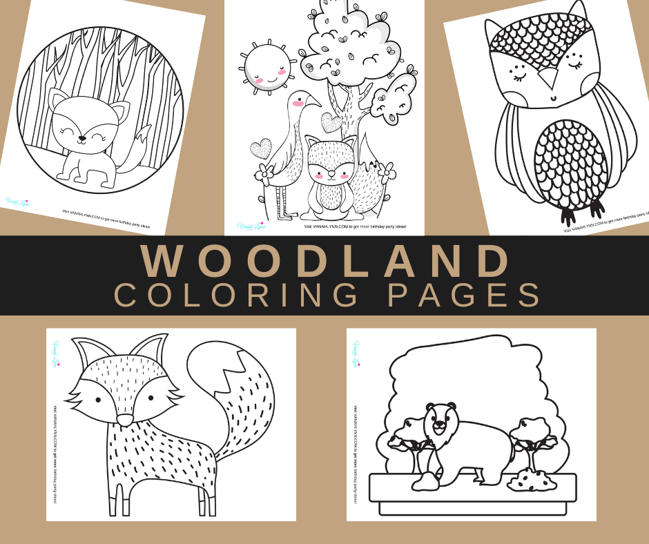 woodland themed coloring pages for a woodland animal birthday party