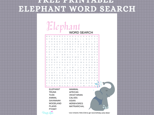 FREE Elephant Hide and Seek Word Puzzles