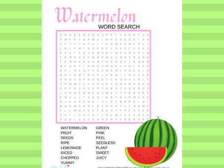 Watermelon Word Search | Free Printable Watermelon Themed Activity Sheet | Watermelon Word Find Free