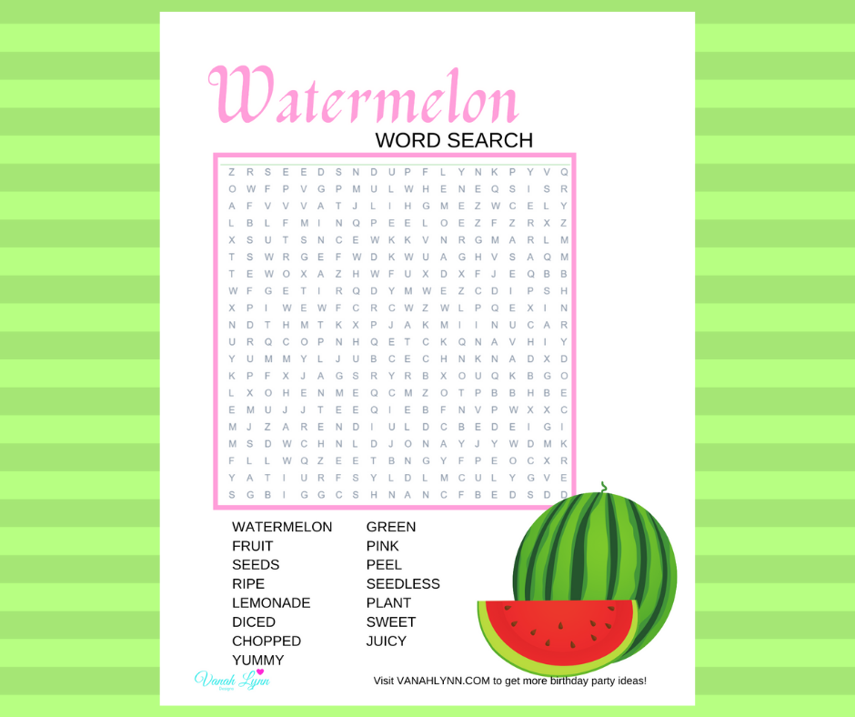 watermelon word search for a watermelon birthday party