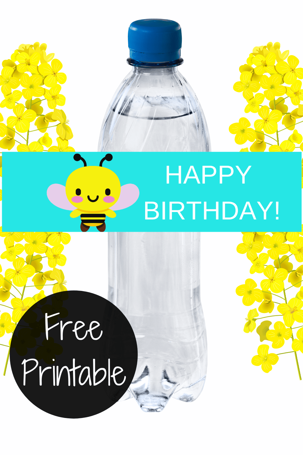 bee decorations DIY - water bottle label