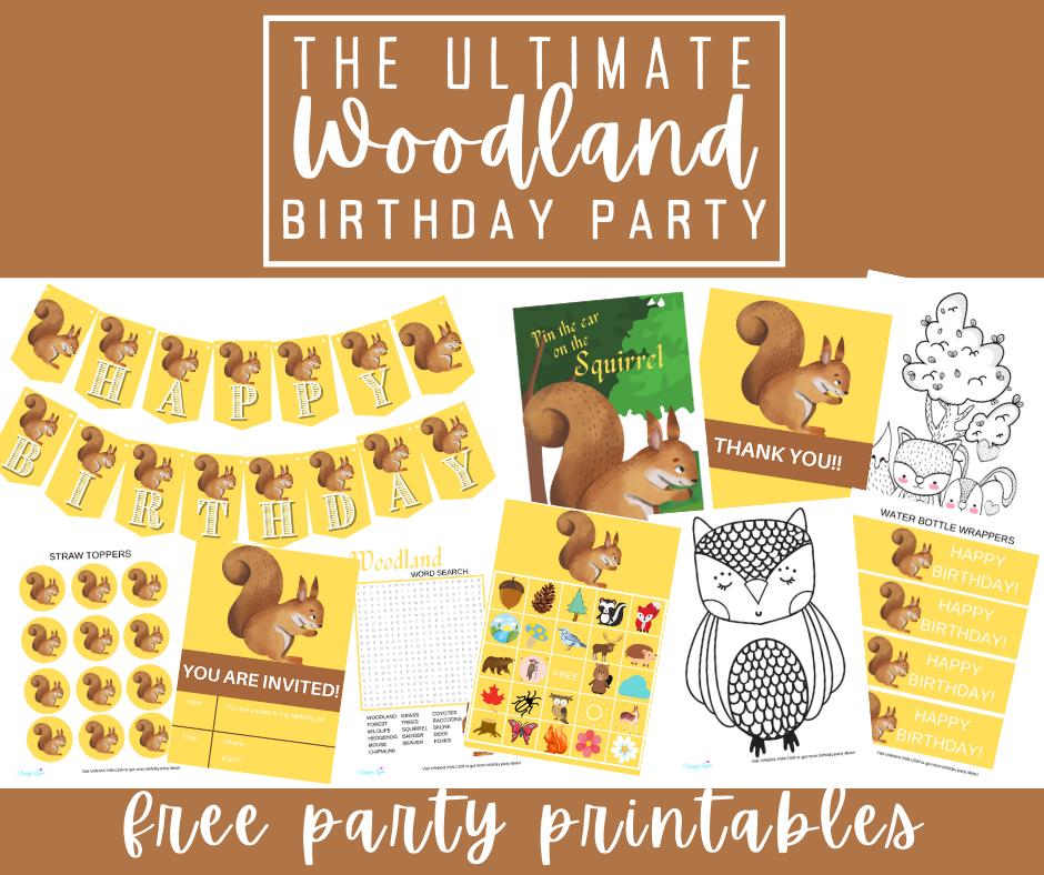 free printable woodland party kit