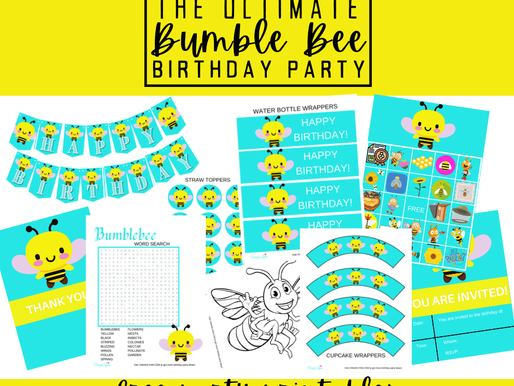 Bumble Bee Theme Party Ideas - A FREE Set of Everything You Need for a Bee Birthday Party