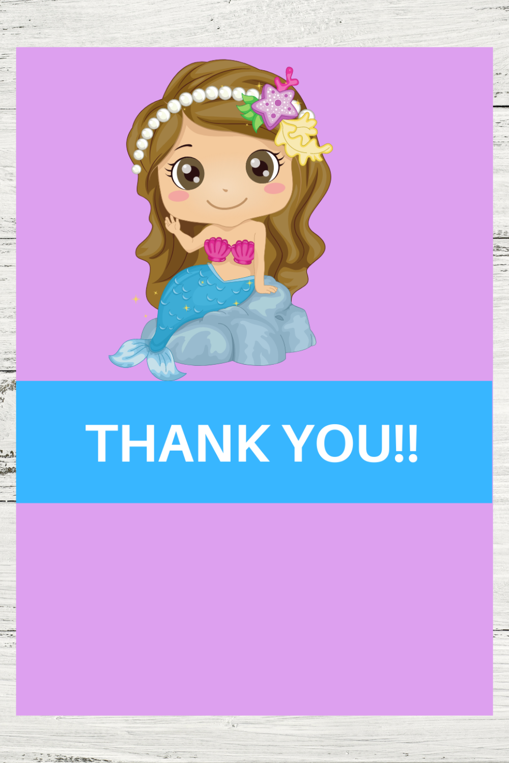 free printable mermaid themed thank you card