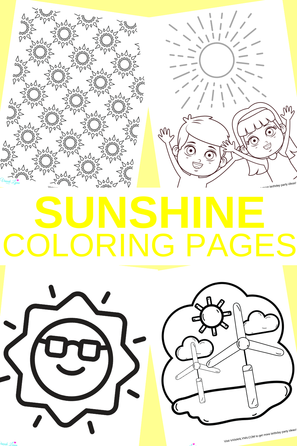 sunshine activity sheet for a toddlers birthday party