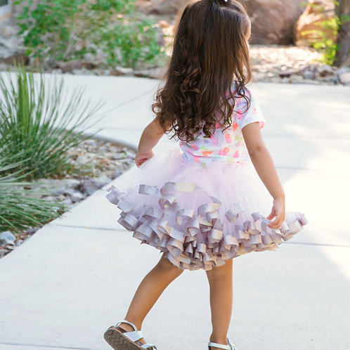 light pink and grey tutu on small child