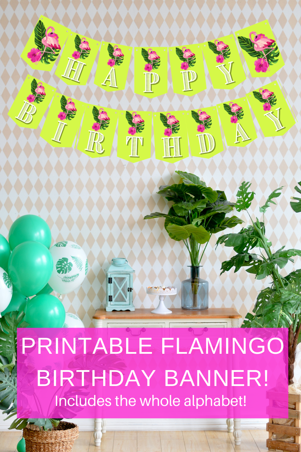 free printable little girl birthday party flamingo banner