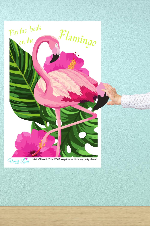 free printable pin the beak on the flamingo party game