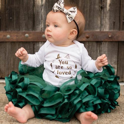 hunter green tutu on a baby girl