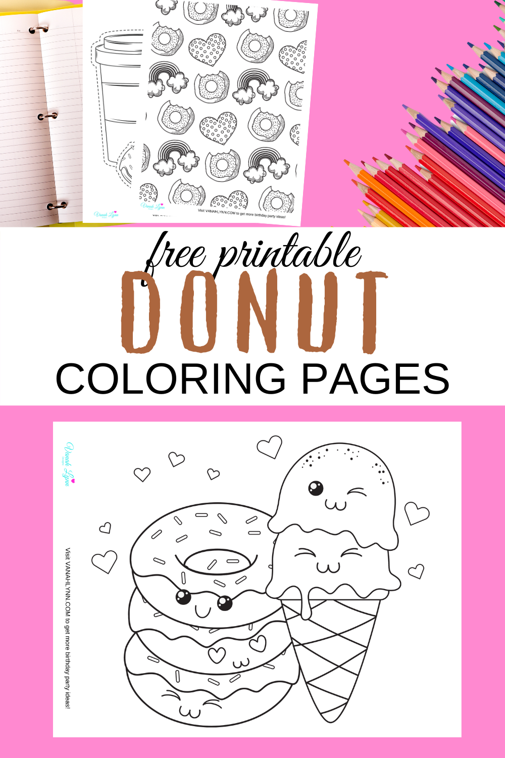 cute and fun donut coloring pages for a 1st birthday party