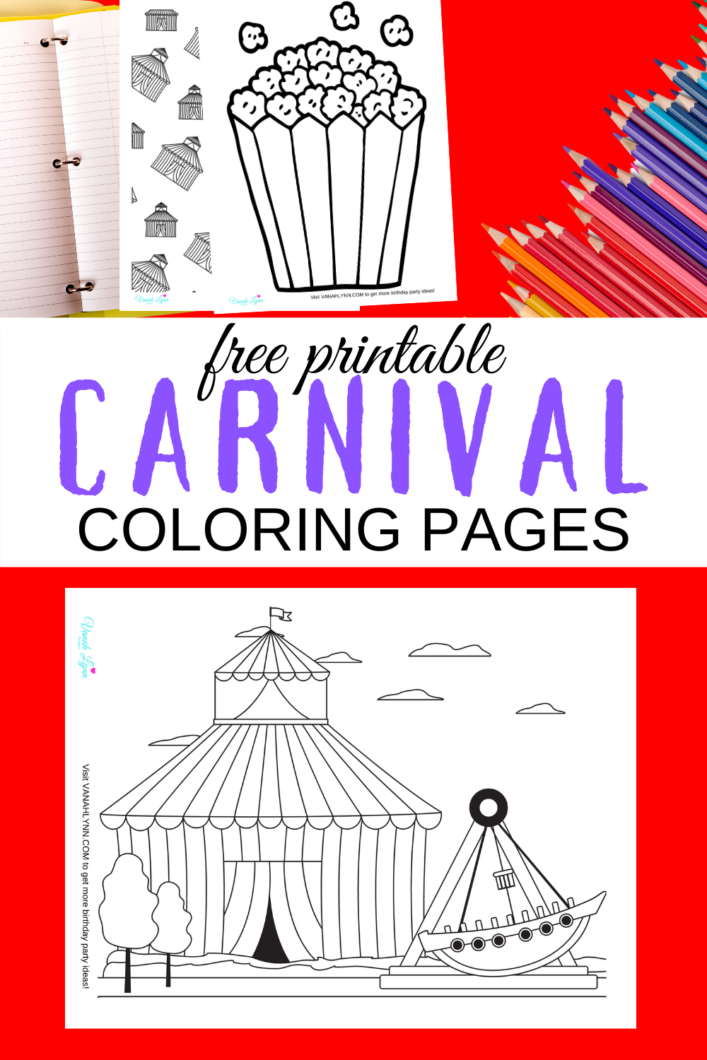 circus themed coloring pages for a circus birthday party