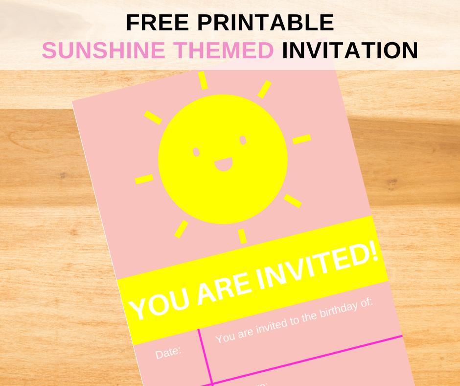 Sunshine themed first birthday party invitation