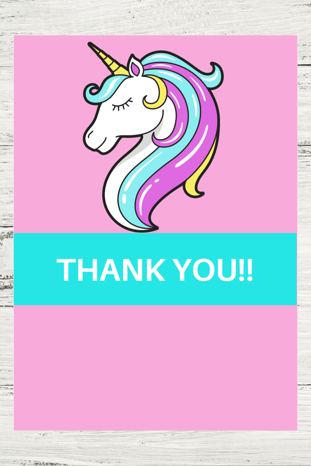 free printable unicorn thank you card for a kids birthday party