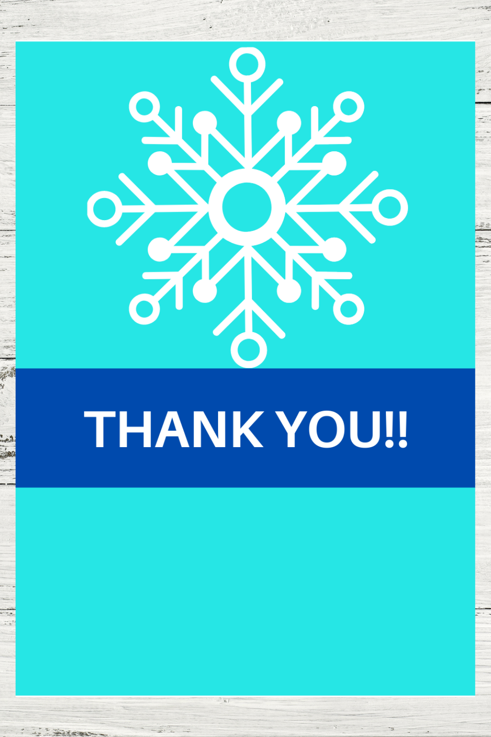 winter themed thank card for a birthday party