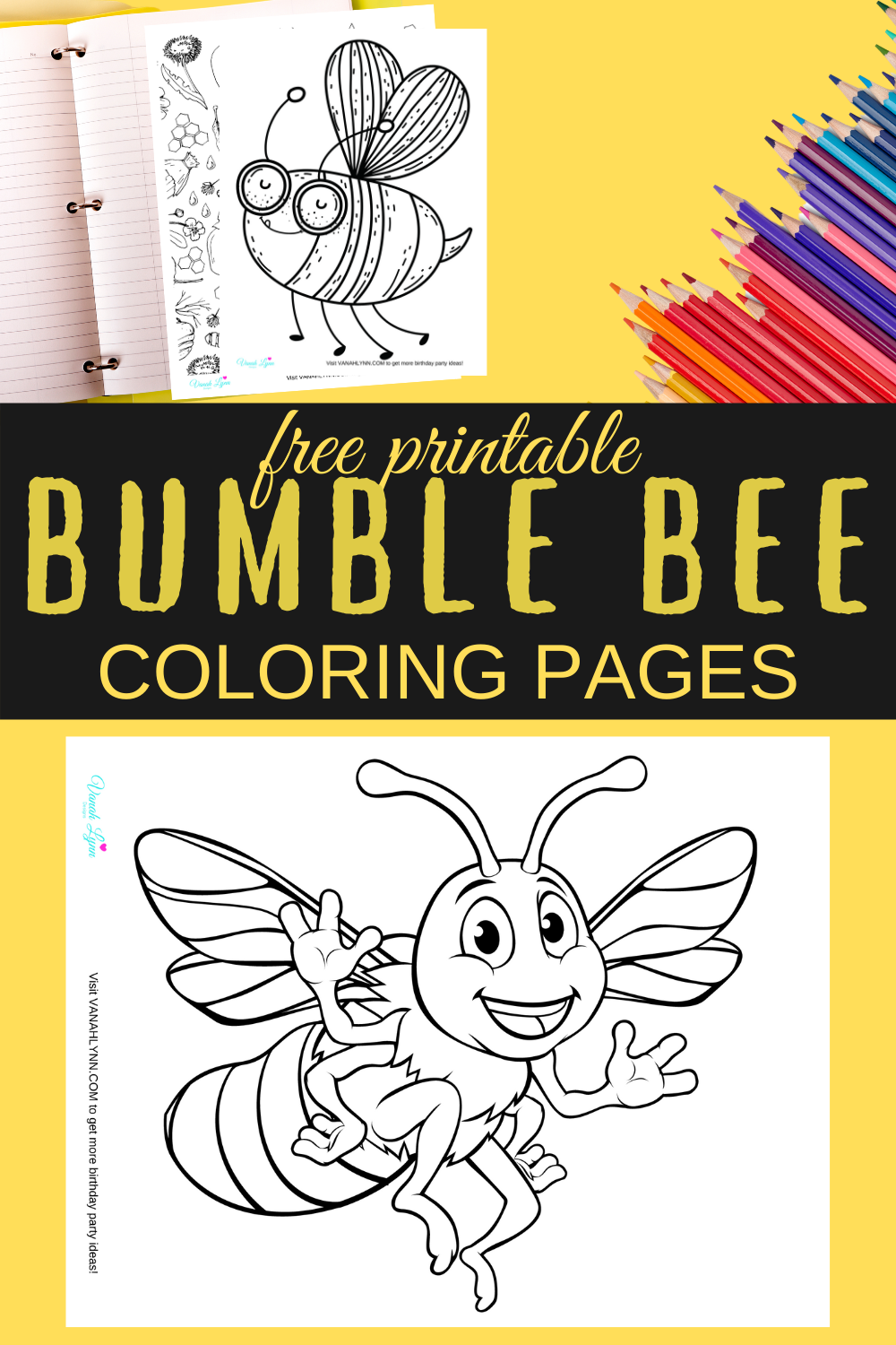 free printable bumble bee coloring pages for a birthday party