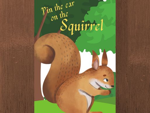 Woodland Themed Party Game: Pin the Ear on the Squirrel | Woodland Birthday Activity
