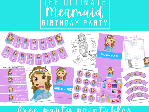Mermaid Party Kit | Free Printable Mermaid Birthday Party | Mermaid Decorations, Games & Invitation