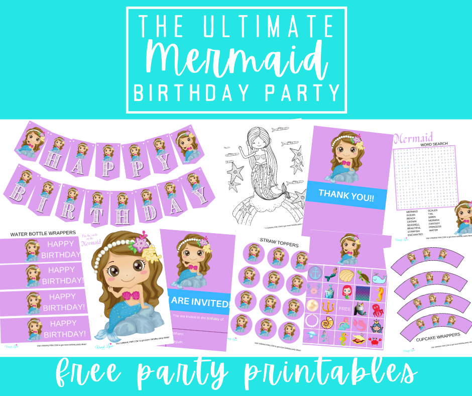 free printable mermaid party kit