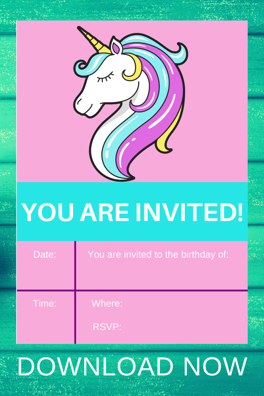 unicorn birthday party invitation for a toddler girl