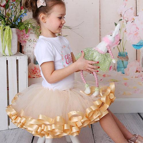 beige tutu skirt on little girl