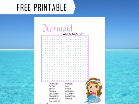 Mermaid Word Search | Free Printable Mermaid Themed Activity Sheet for Birthday Party | Word Find