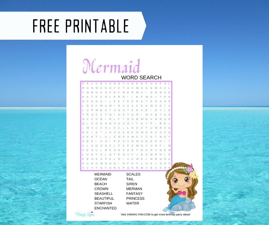 mermaid word search for kids birthday party
