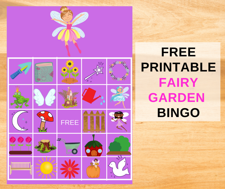 Fairy Garden Bingo Game for a little girls birthday party