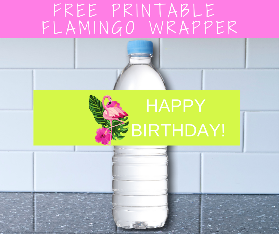 tropical flamingo water bottle label for birthday party