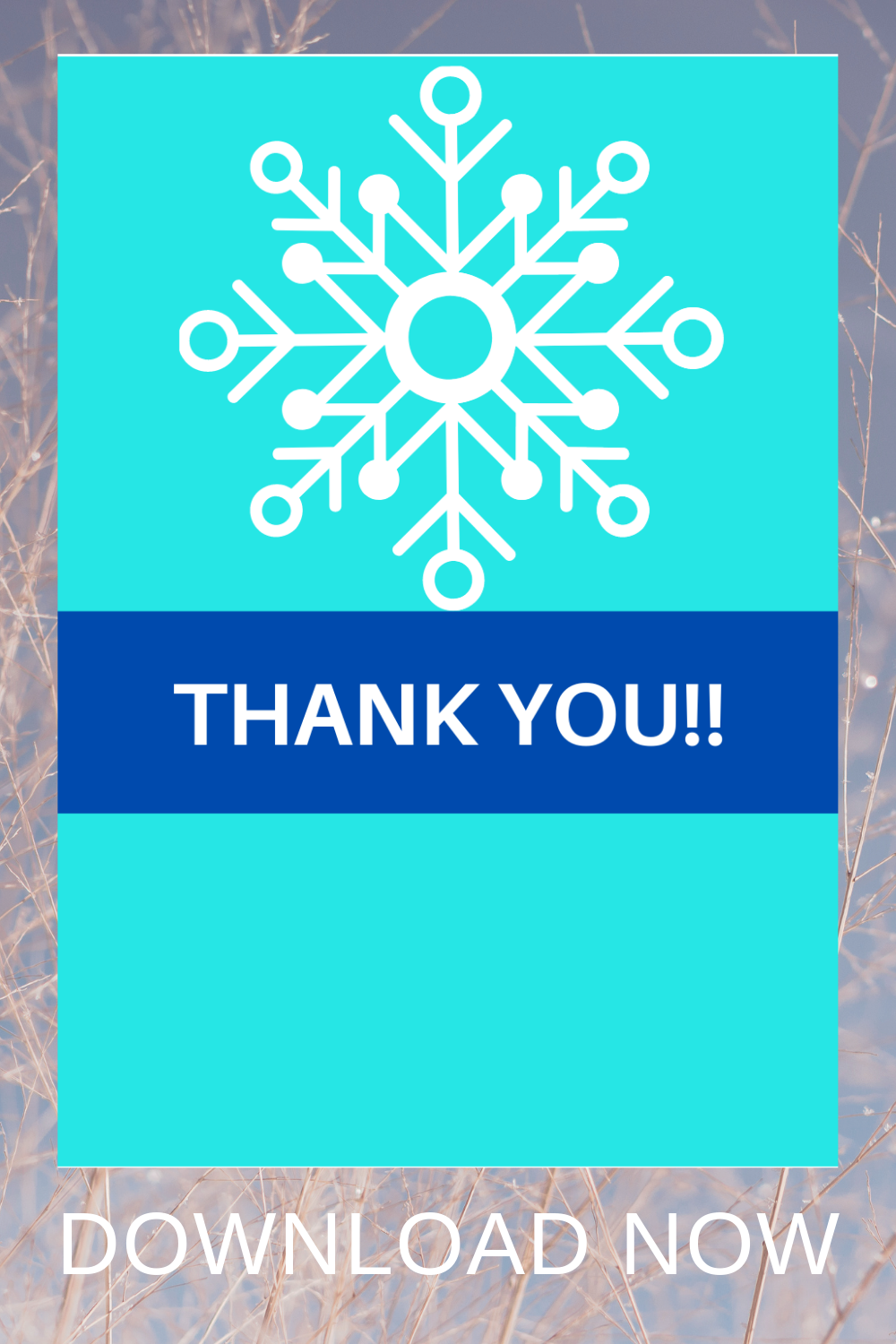 free download: winter printable ideas thank you card