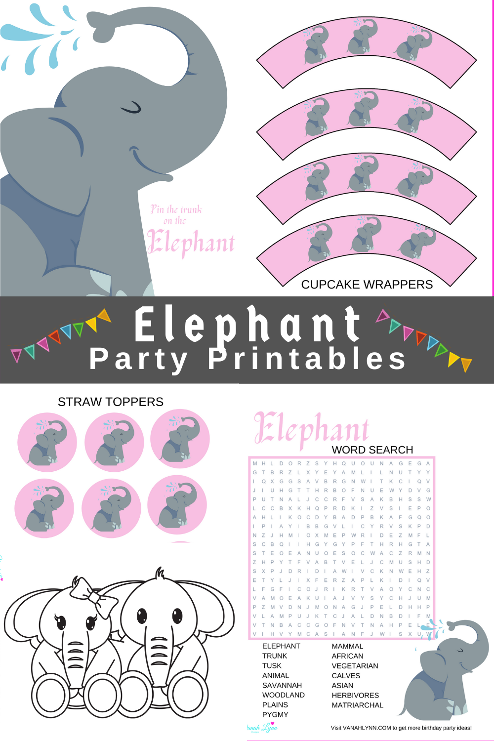 pink and grey birthday party decorations