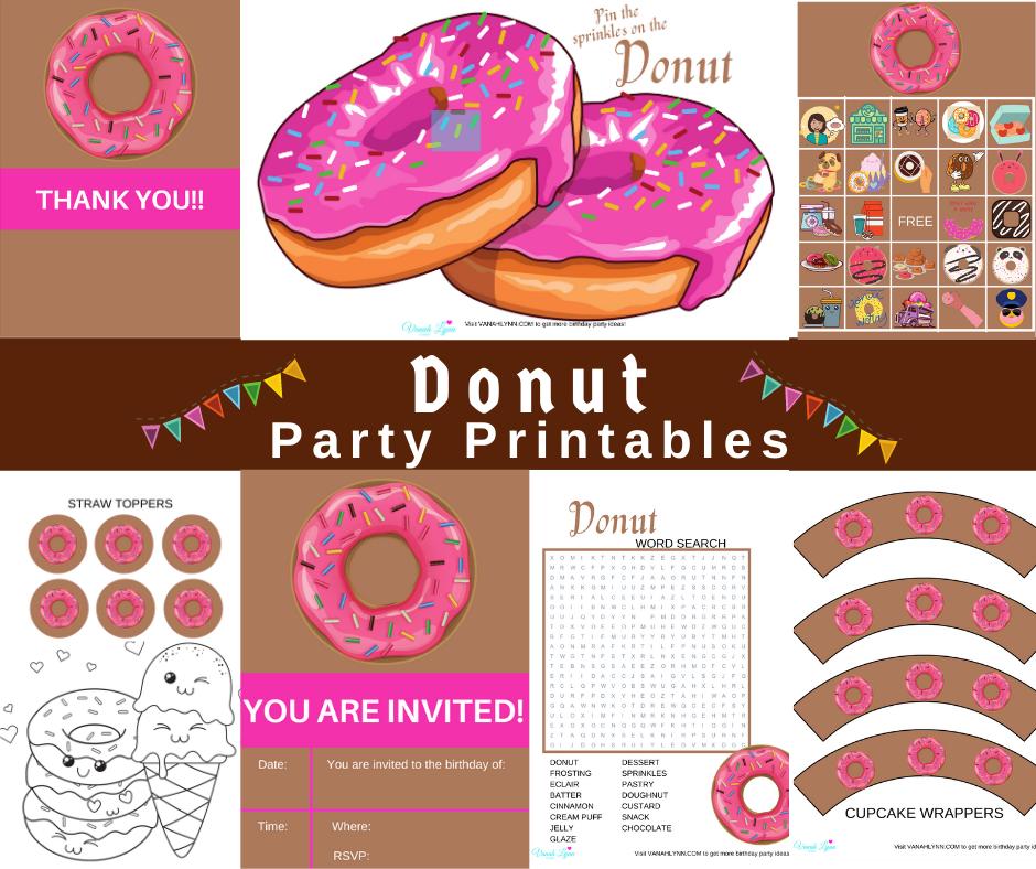 free printable donut birthday party kit