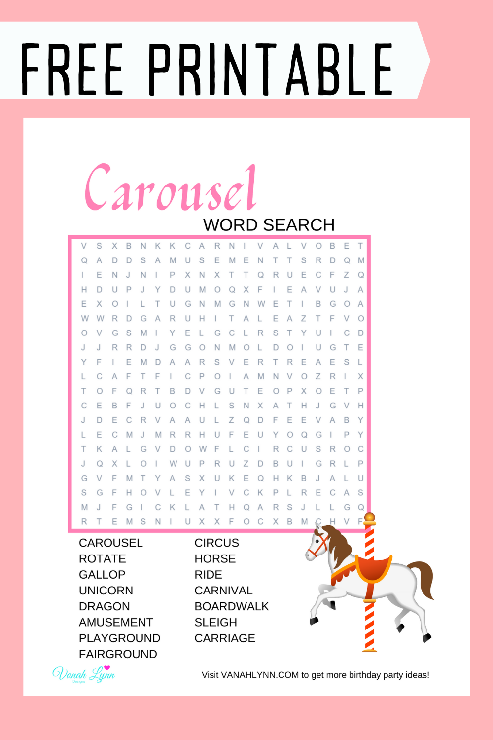 free download: carousel word puzzle for kids party