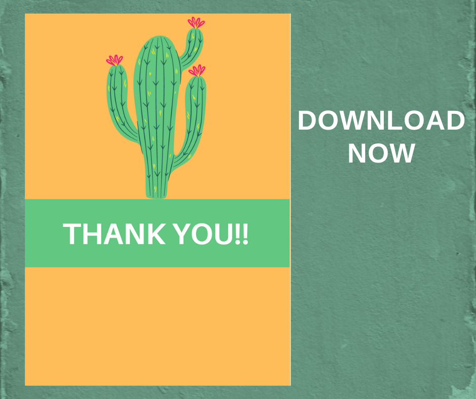 fiesta thank you card for little girls birthday party