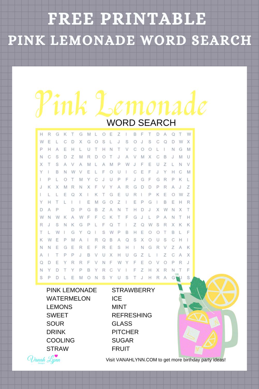 free printable pink lemonade word find for little girl