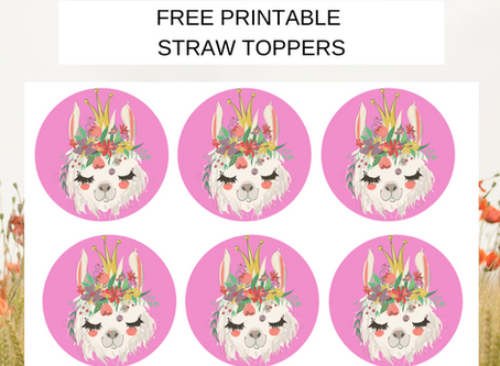 Llama Straw Toppers  | Free Printable