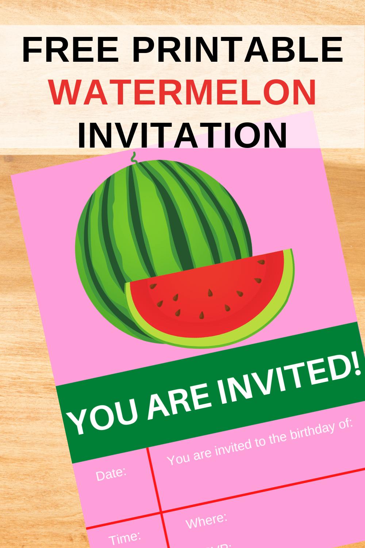 watermelon themed birthday party invite card